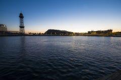Cabina di funivia della torre di Torre Jaume nel porto di Barcellona Immagine Stock