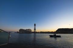 Cabina di funivia della torre di Torre Jaume nel porto di Barcellona Fotografia Stock