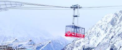 Cabina di funivia di Brevent a zona di montagna di Chamonix-Mont-Blanc Fotografie Stock Libere da Diritti