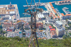 Cabina di funivia di Gibilterra Immagini Stock Libere da Diritti