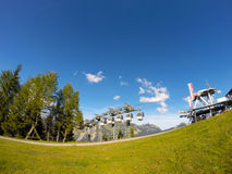 Cabina di funivia di Karwendel alle alpi del villaggio di Pertisau, Austria Fotografie Stock