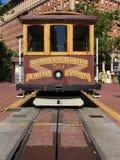 Cabina di funivia di San Francisco all'estremità della via della California Fotografie Stock