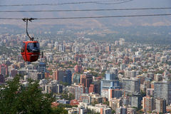 Cabina di funivia di Santiago de Cile Fotografie Stock
