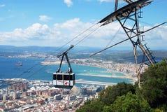 Cabina di funivia e linea costiera, Gibilterra Immagini Stock Libere da Diritti