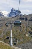 Cabina di funivia espressa del Matterhorn Fotografie Stock