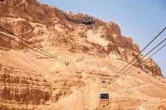 Cabina di funivia a Masada Immagini Stock Libere da Diritti