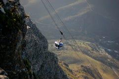 Cabina di funivia nel parco della montagna della Tabella a Cape Town, Sudafrica immagini stock libere da diritti