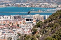 Cabina di funivia nella città di Gibilterra Fotografie Stock