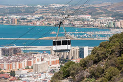 Cabina di funivia nella città di Gibilterra Immagine Stock Libera da Diritti