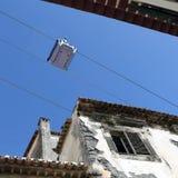Cabina di funivia nella vecchia città di Funchal fotografia stock libera da diritti