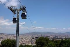 Cabina di funivia sopra Barcellona fotografie stock libere da diritti