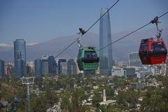 Cabina di funivia su Cerro San Cristobal a Santiago, Cile Fotografia Stock