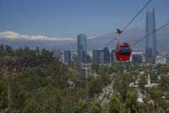 Cabina di funivia su Cerro San Cristobal a Santiago, Cile Fotografia Stock Libera da Diritti