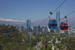 Cabina di funivia su Cerro San Cristobal a Santiago, Cile Fotografie Stock