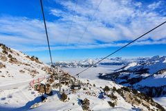 Cabina di funivia sul Mt Fronalpstock in Svizzera Fotografia Stock Libera da Diritti