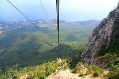Cabina di funivia sulla montagna Aj-Pétri. La Crimea, Ucraina Fotografia Stock