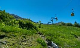 Cabina di funivia in tessin di cantone, alpi svizzere, Svizzera Fotografie Stock