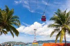 Cabina di funivia di Vinperal, Nha Trang, Vietnam immagine stock libera da diritti