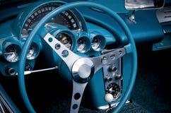 Cabina di guida blu dell'automobile Fotografia Stock