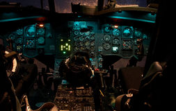 Cabina di guida dell'elicottero del Chinook fotografie stock libere da diritti