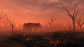 Cabina di legno sola a distanza nel paesaggio nebbioso con gli alberi morti Immagine Stock