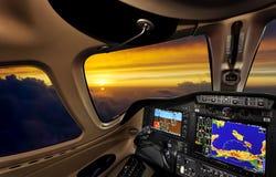 Cabina di pilotaggio al tramonto Fotografia Stock Libera da Diritti
