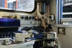 Cabina di pilotaggio del treno tailandese Fotografie Stock Libere da Diritti
