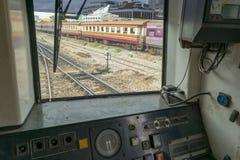 Cabina di pilotaggio del treno tailandese Fotografia Stock Libera da Diritti