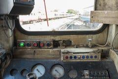 Cabina di pilotaggio del treno tailandese Fotografia Stock
