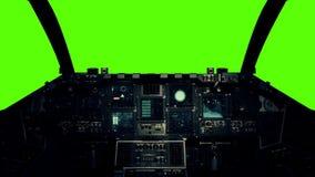 Cabina di pilotaggio dell'astronave in un punto di vista pilota su un fondo di schermo verde illustrazione vettoriale