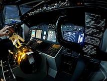 Cabina di pilotaggio di Boeing 737 Fotografia Stock Libera da Diritti