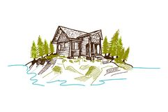 Cabina disegnata a mano della montagna Fotografie Stock Libere da Diritti