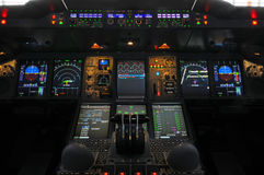 Cabina do piloto de Airbus A380 Fotos de Stock