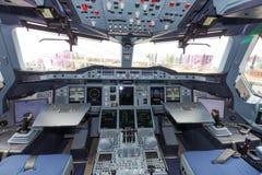 Cabina do piloto de Airbus A380 Foto de Stock