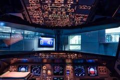 Cabina do piloto de Airbus A320 Fotografia de Stock Royalty Free