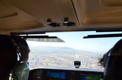 Cabina do piloto de aviões Fotos de Stock