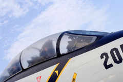 Cabina do piloto de aviões do lutador F-14 fotos de stock