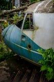 Cabina do piloto de um plano deixado de funcionar na selva Fotografia de Stock Royalty Free