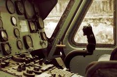 A cabina do piloto do helicóptero do vintage Fotos de Stock Royalty Free