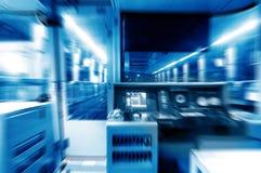 Cabina do piloto do metro, imagem azul do tom imagens de stock royalty free