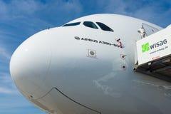A cabina do piloto dos aviões os maiores no mundo - Airbus A380 Imagem de Stock