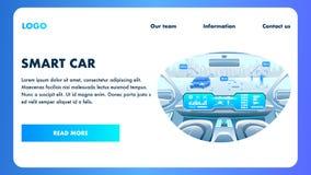 Cabina do piloto esperta do carro Vetor do transporte de Selfdriving ilustração stock