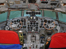 Cabina do piloto Ilyushin IL 18 Imagem de Stock Royalty Free