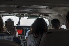 Cabina do piloto pequena interna do avião Fotos de Stock Royalty Free