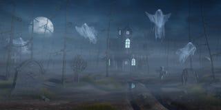 Cabina e un cimitero in una foresta spettrale alla notte Fotografia Stock Libera da Diritti