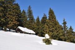 Cabina en invierno Fotos de archivo libres de regalías