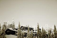 Cabina en paisaje del invierno Imagenes de archivo