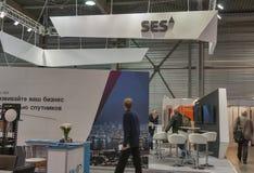 Cabina globale del fornitore di servizi via satellite di SES Immagine Stock