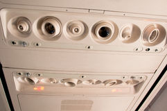 Cabina interna dell'aeroplano Fotografia Stock