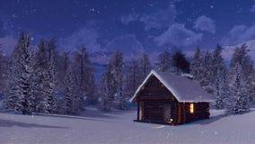 Cabina isolata dalla neve della montagna alla notte di inverno delle precipitazioni nevose illustrazione di stock